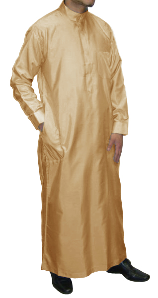 Qamis Al Haramayn avec col et manches longues - Beige