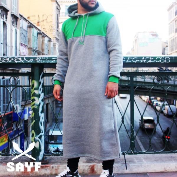 Qamis jogging SAYF gris chiné/ vert lacoste
