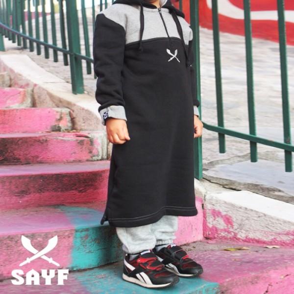 Qamis jogging enfant SAYF noir/ gris chiné