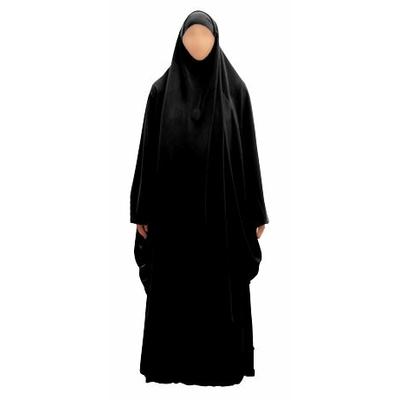 Jilbab noir femme 2 pièces