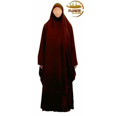 Jilbab marron femme 2 pièces