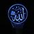 Lampe 3D Allah bleu