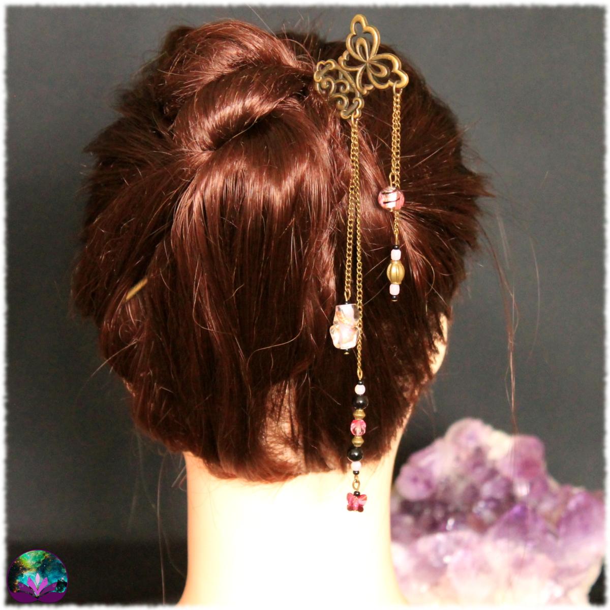 pique à cheveux papillon d'onyx