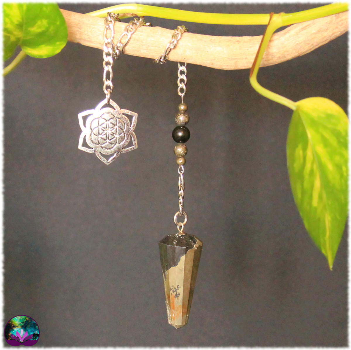 Pendule Lourd pyrite et obsidienne oeil céleste