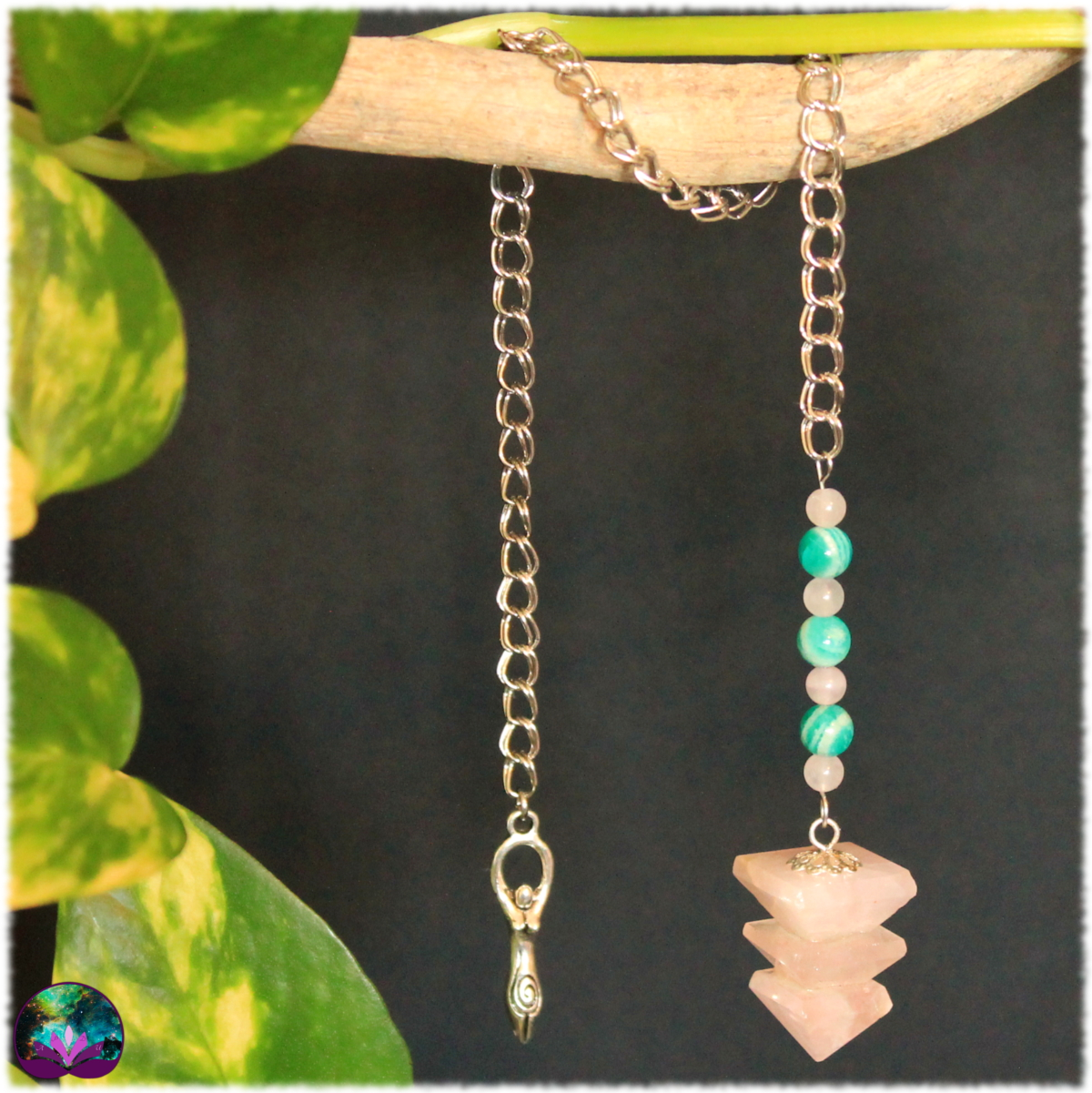 Pendule triple pyramide quartz rose et amazonite