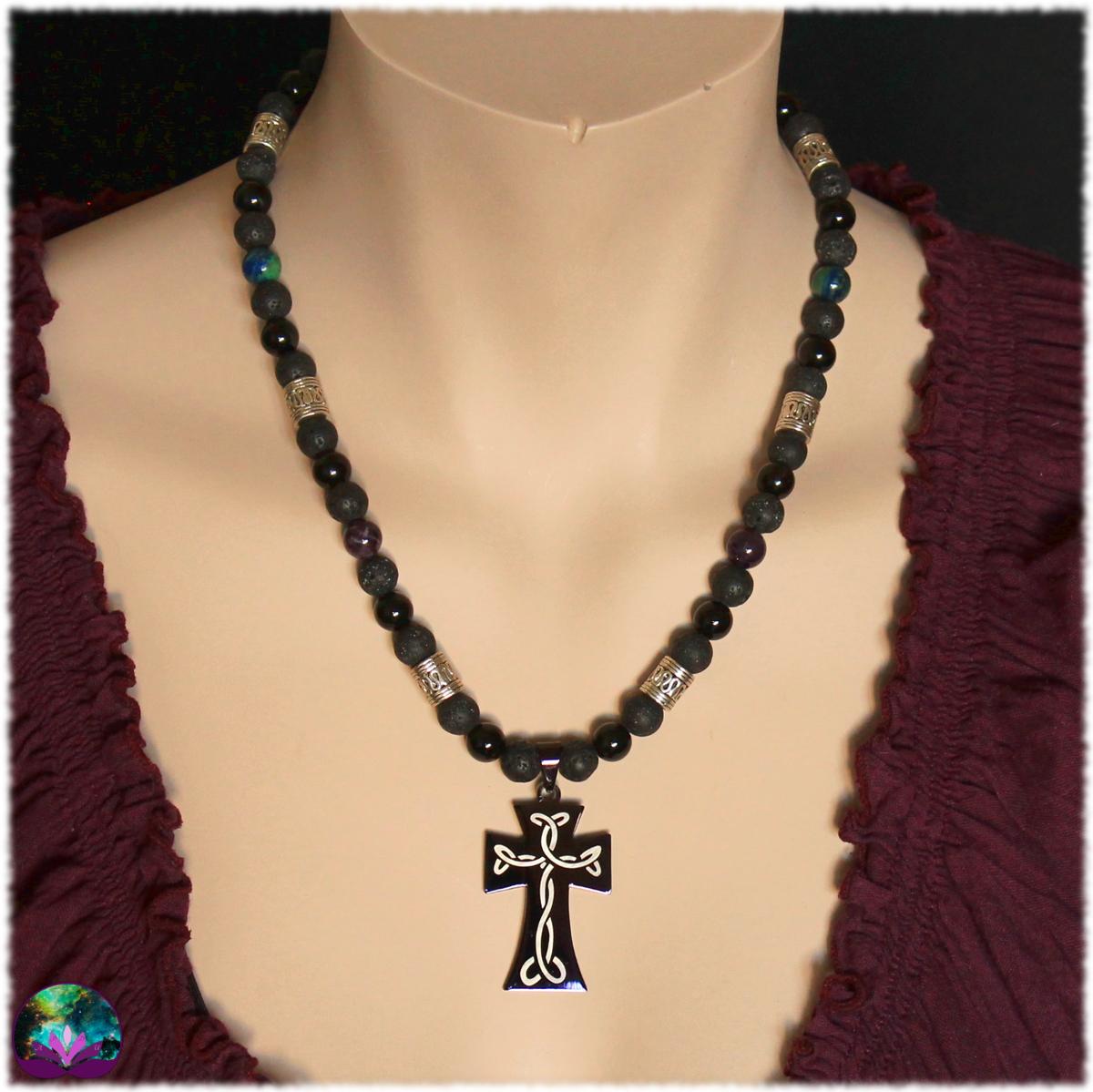 Collier mixte croix celtique quator de pierres 5