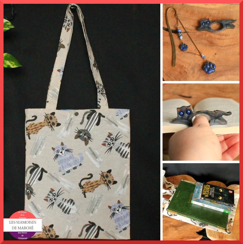 Ensemble Mes livres en vadrouille : tote bag, marque-page et porte-page chats n°2