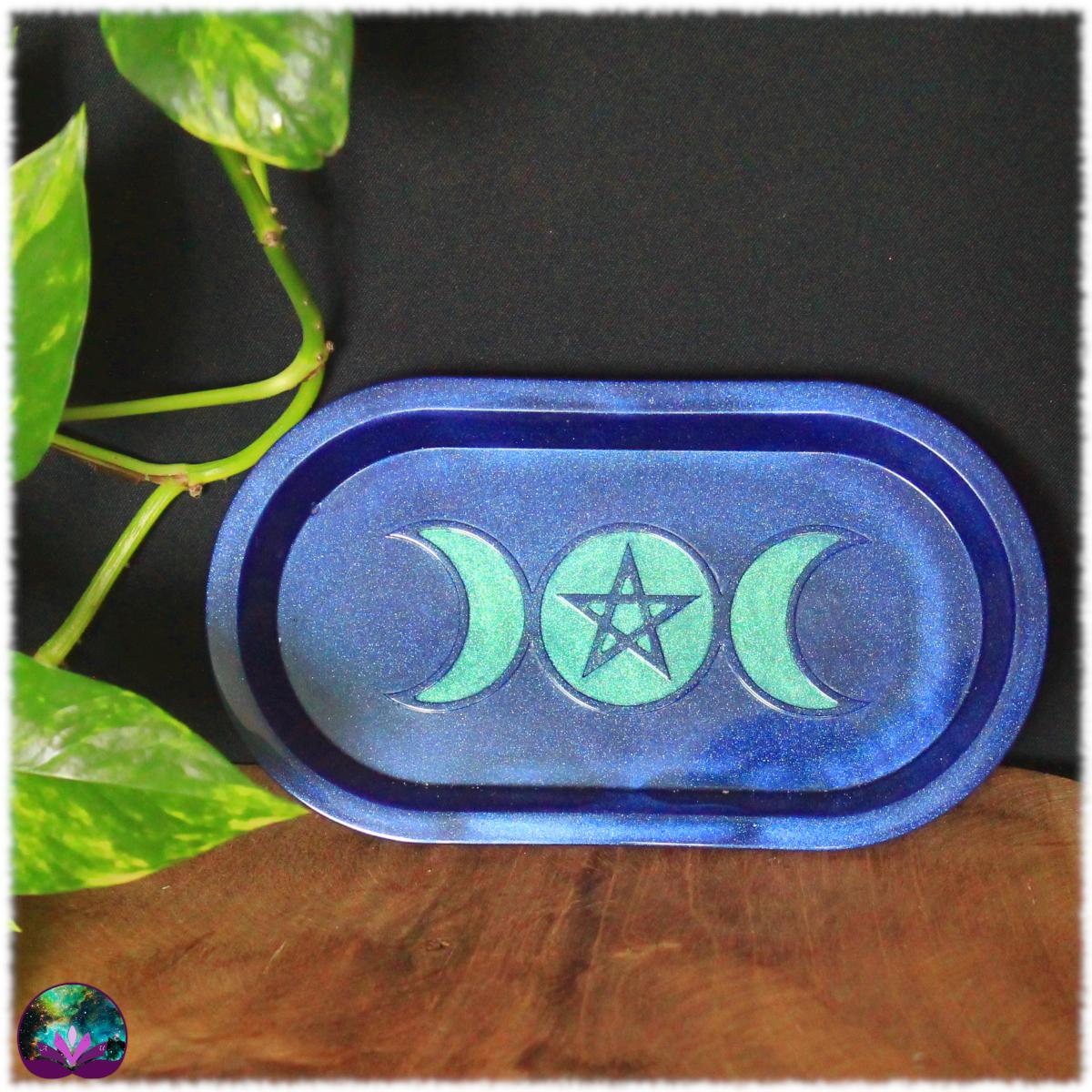 Coupelle ovale triple lune cobalt mystique