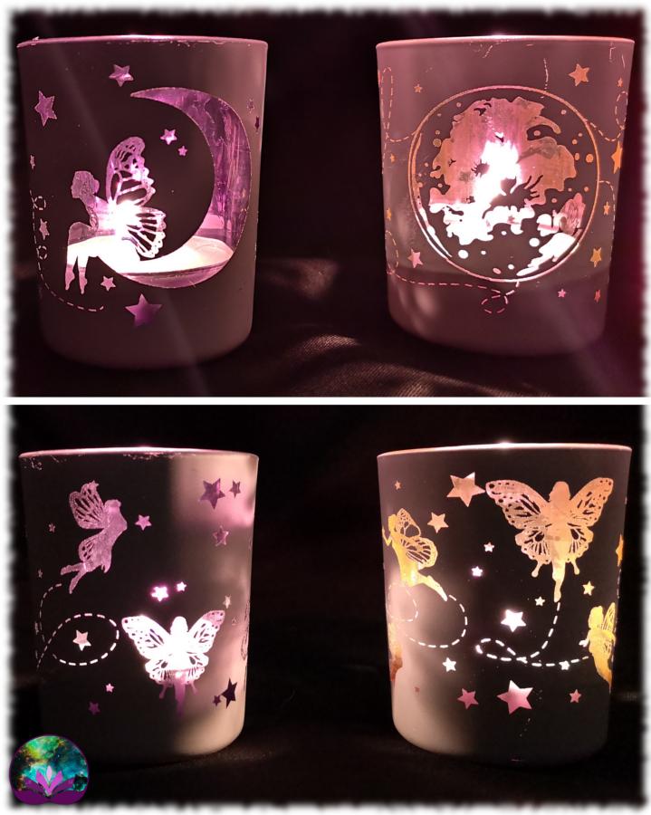 Lot de 2 bougeoirs féeriques rose et violet