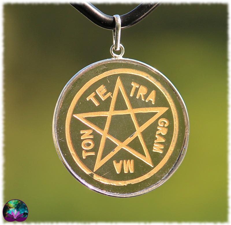 Pendentif Tétragrammaton en Obsidienne Noire