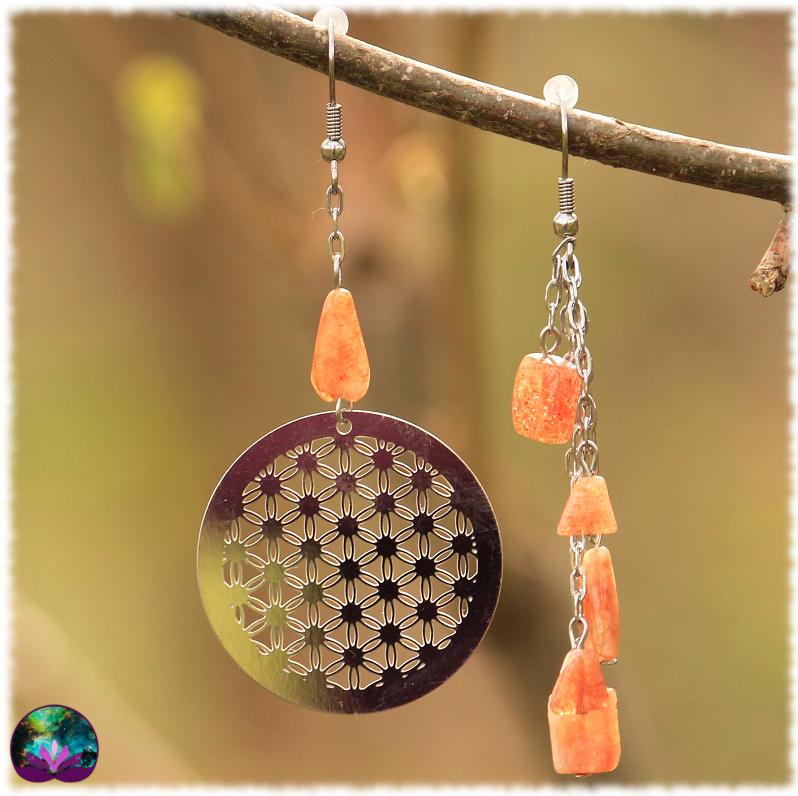 Boucles d\'oreille asymétriques Fleur de soleil
