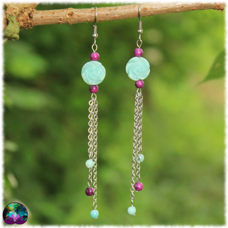 Boucles d\'oreille rose d\'amazonite