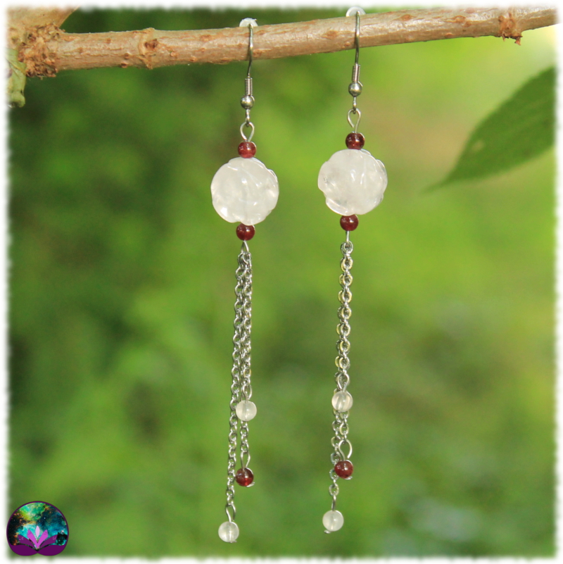 Boucles d\'oreille rose de quartz rose