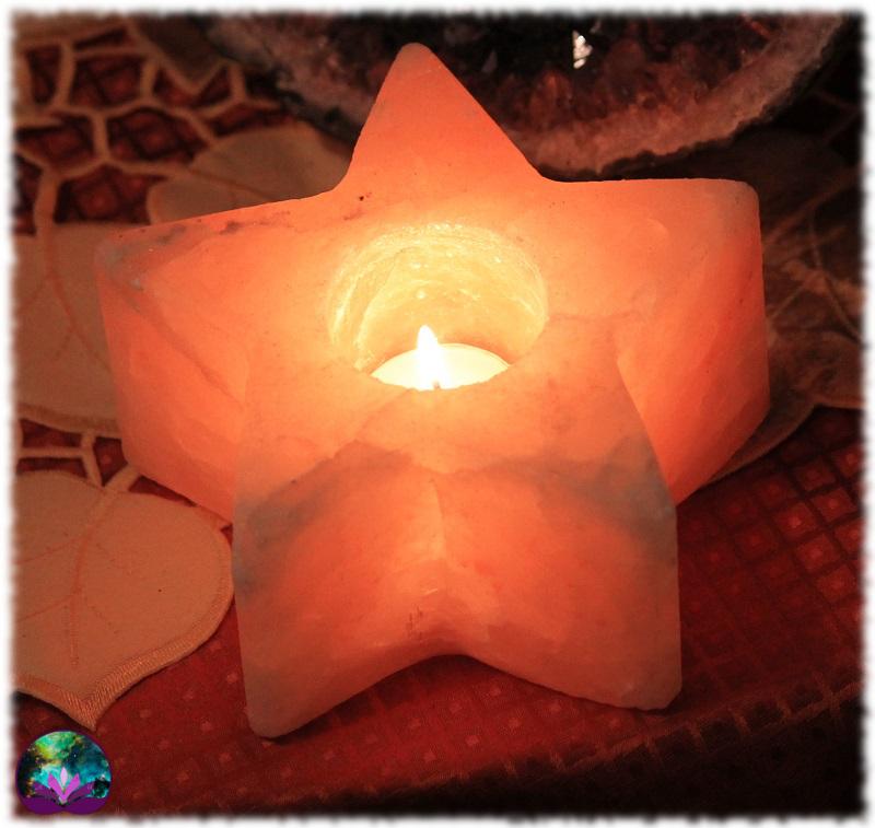 Bougeoir étoile en pierre de sel
