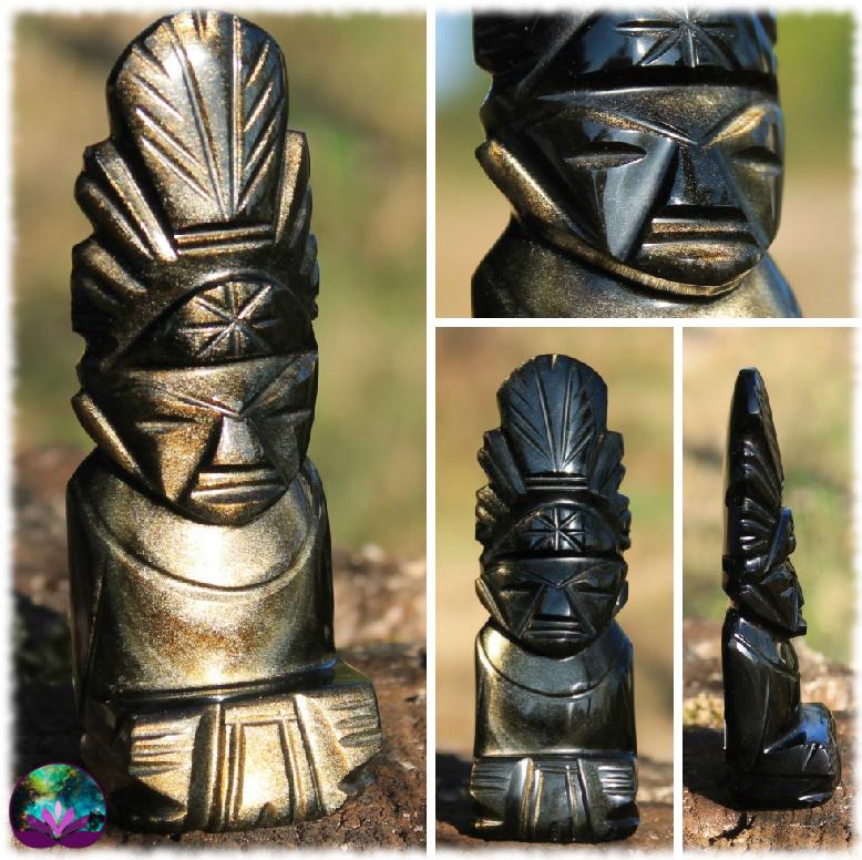 Sculpture mexicaine en Obsidienne dorée n°10