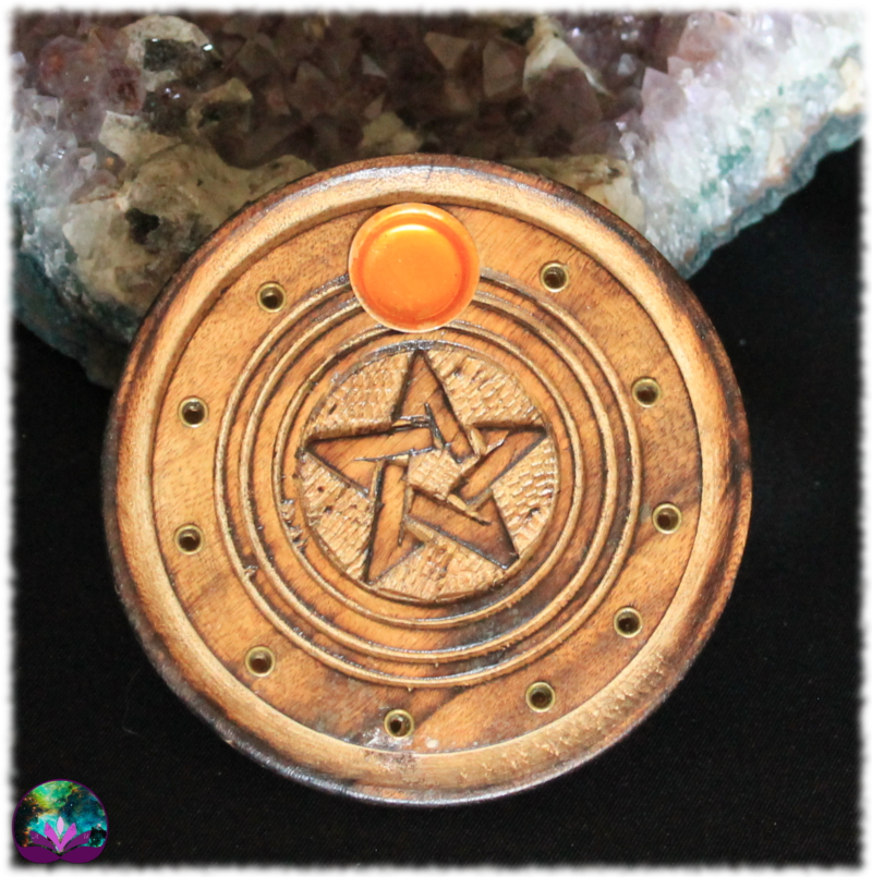 Porte-Encens sculpté en bois Pentagramme