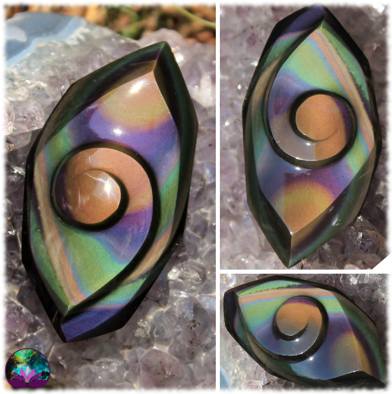 Cabochon caracol exceptionnel en Obsidienne Oeil Céleste