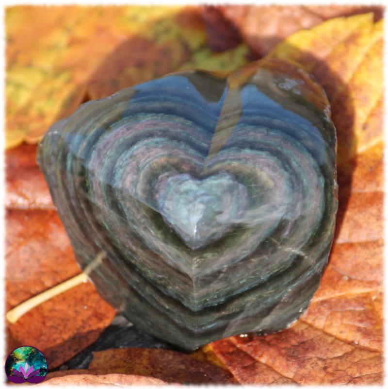 Coeur semi-brut en obsidienne manta huicol