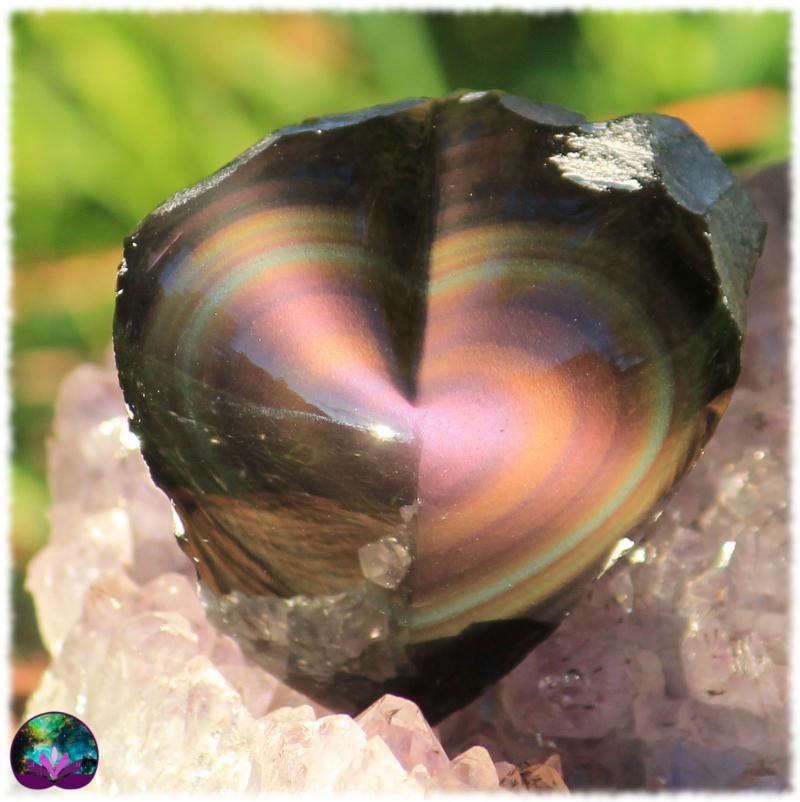 Coeur semi-brut en obsidienne oeil céleste