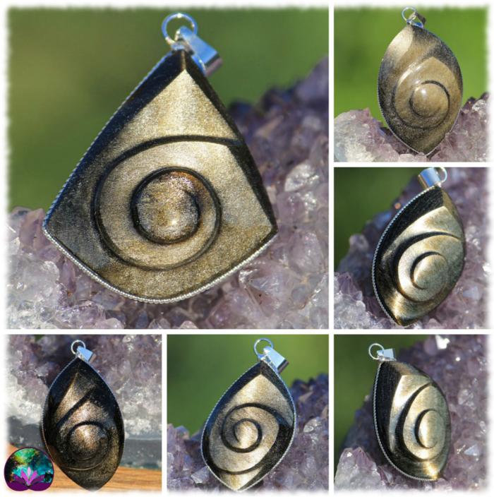 Pendentif caracol en Obsidienne dorée au choix
