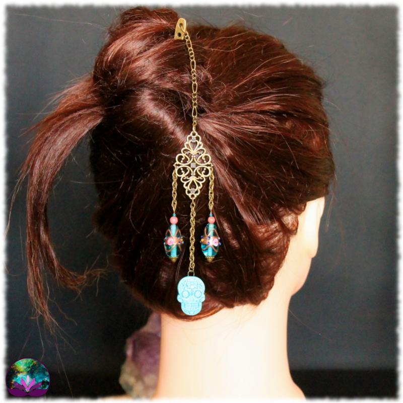 Pique à cheveux Calavera azul