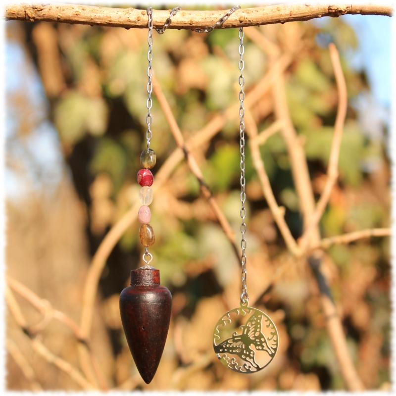 Pendule Bois de rose, tourmaline multicolore