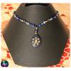 Collier harmonie énergétique verre synthétique bleu