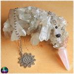 pendule bourgeon de quartz rose et onyx 2