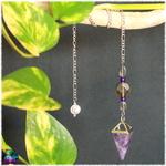 Pendule pyramide améthyste et quartz fumé