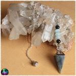 Pendule pyramide labradorite amazonite et oeil de faucon 2