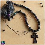 Collier mixte croix celtique quator de pierres 3