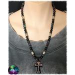 Collier mixte croix celtique quator de pierres