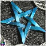 pentacle dautel bleu métallique et argenté