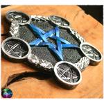 pentacle dautel bleu métallique et argenté 3