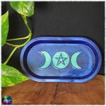 vide poche ovale triple lune violet bleu metallique 2