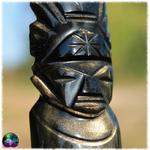 Sculpture dieu azteque maya obsidienne dorée n°10 3