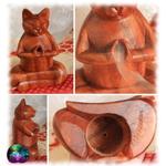 diffuseur d'encens bois forme chat