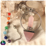 Pendule pyramidale quartz rose