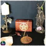 Porte-Encens sculpté en bois Pentagramme 2