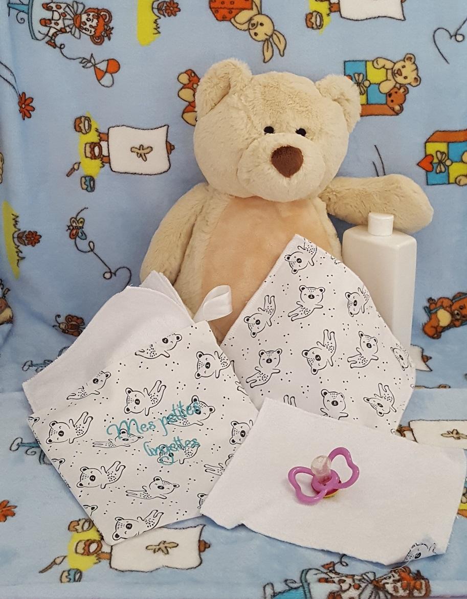 Pochette de 5 lingettes bébé motif oursons