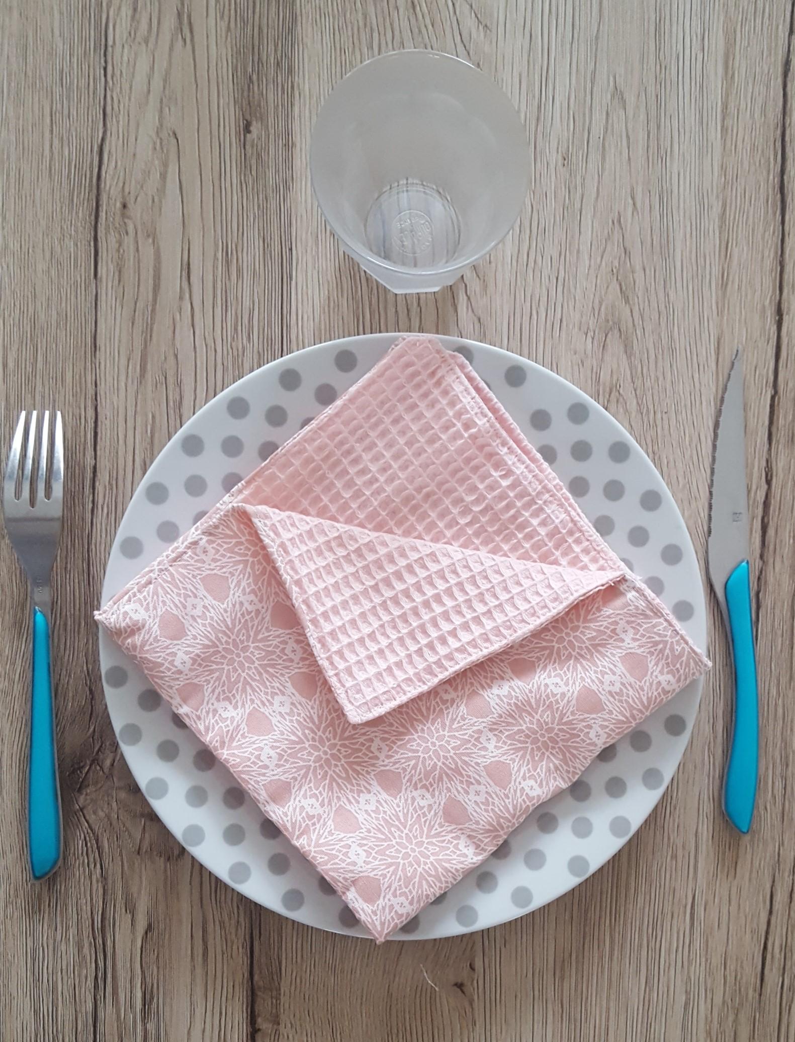 Serviette de table ton rosé