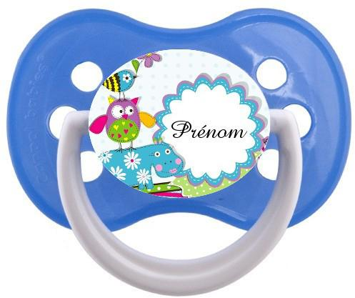 Sucette bébé hippopotame bleu
