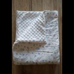 Couverture bébé chouette côté minky blanc