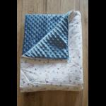 Couverture bébé motif chouettes 1 côté minky bleu
