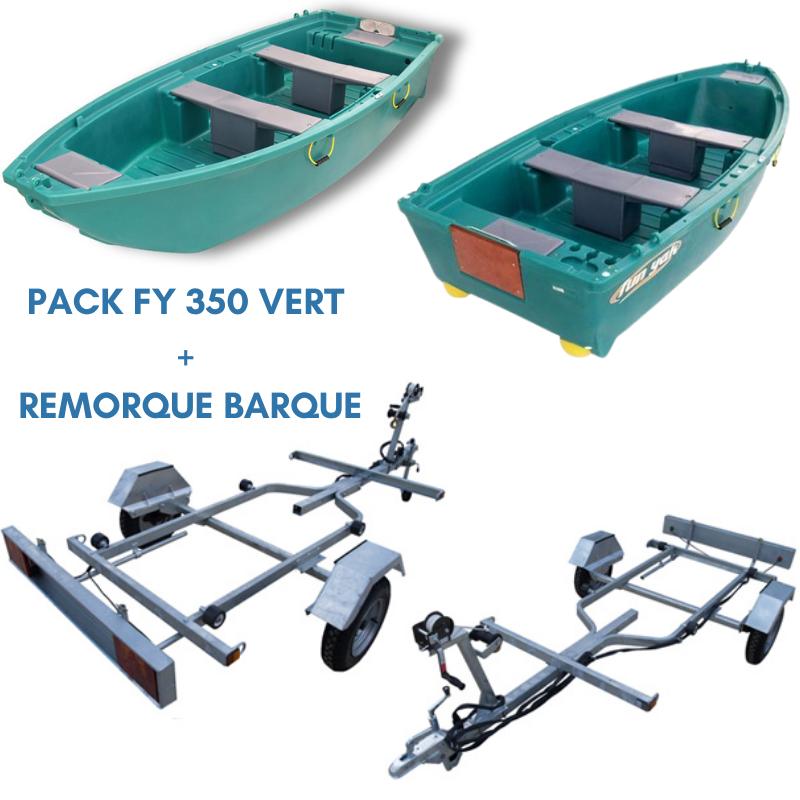 PACK BARQUE DE PECHE FUN YAK FY350 + REMORQUE A ROULEAUX