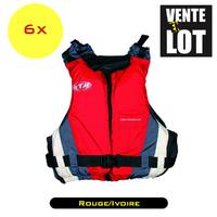 LOT DE 6 GILETS D'AIDE A LA FLOTTABILITE EUROCLUB ROUGE/IVOIRE NORME ISO