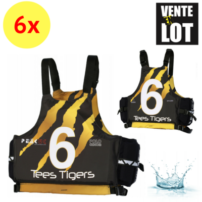 LOT DE 6 GILETS D'AIDE A LA FLOTTABILITE PEAK UK POLO CUSTOM