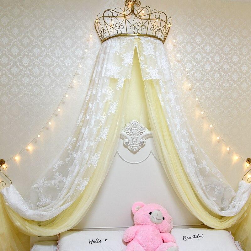 Ciel de Lit Princesse avec Couronne | Voile Jaune