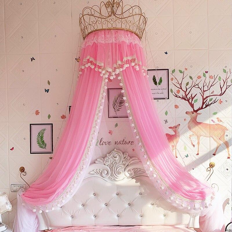 Ciel de Lit Princesse avec Couronne | Voile Rose + pompons