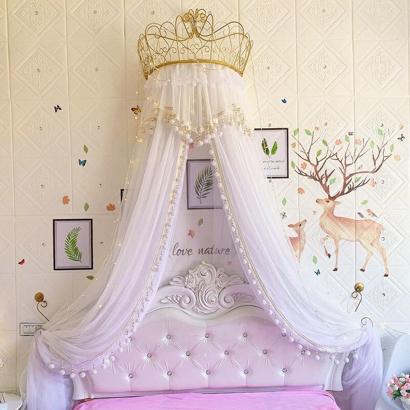 Ciel de Lit Princesse avec Couronne | Voile Blanc